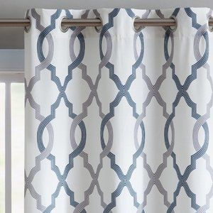 VCNY Caldwell Grey/Navy/White Geometric Curtains